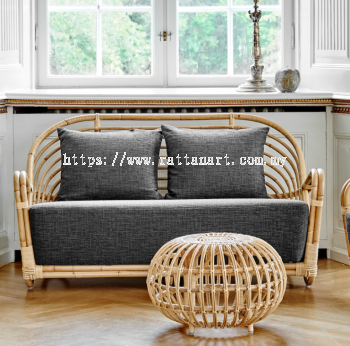 RATTAN SOFA SEA SHELL - 2 SEATER