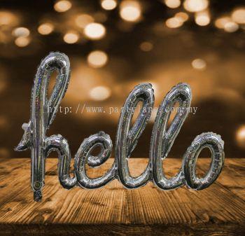 Foil Alphabet HELLO Silver 18''