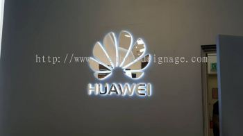 Huawei Service Center 3D Stainless Steel Box Up LED Backlit Lighting @ Damansara KL