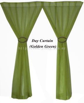 """1 SET DAY CURTAIN GOLDEN GREEN (60""""X85""""/PCS)"""