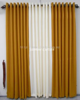 "1 SET LANGSIR EYELET PLAIN GOLD-KRIM  (72""X85"") (3PCS)"