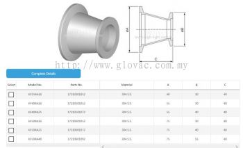 KF-KF Conical Reducing Adaptor Fitting