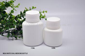 M024 WHITE OVAL MEDICINE BOTTLE