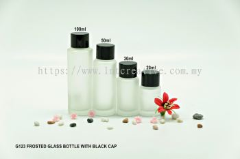 G123 FROSTED GLASS BOTTLE BLACK CAP