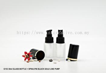G153 30ml GLASS BOTTLE + SP06/LP06 BLACK CAP GOLD LINE