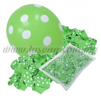 12inch Polka Dot All Round Printed Balloons - Lime Green (B-12PD-010P)