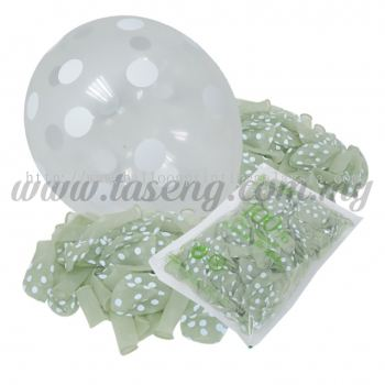 12inch Polka Dot All Round Printed Balloons - Clear (B-12PD-057P)