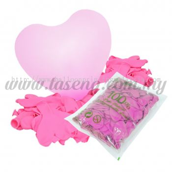 12 inch Heart Shape Balloon -Pink 100pcs (B-12HS-052P)