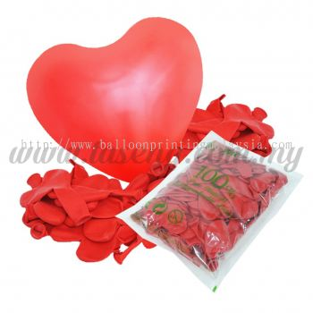 12 inch Heart Shape Balloon -Red 100pcs (B-12HS-058P)