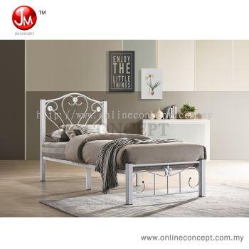 JM Concept Bedford Single Size Base Metal Bed (White/Copper)