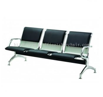 THREE SEATER LINK CHAIR PADDED C/W CHROME METAL BASE LC3U