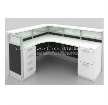 L-SHAPE RECEPTION TABLE WITH 2 fixed pedestal