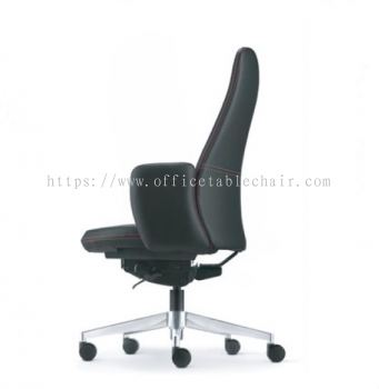EVE DIRECTOR MEDIUM BACK LEATHER CHAIR WITH ALUMINIUM BASE AND FIXED ARMREST AEV  6411L-A