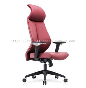 SENSE 1 EXECUTIVE CURVE HIGH BACK LEATHER CHAIR WITH NYLON ROCKET BASE CHB