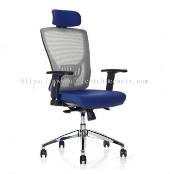 SANIE HIGH BACK ERGONOMIC MESH CHAIR WITH ADJUSTABLE ARMREST AND ALUMINIUM BASE