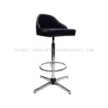 HIGH BARSTOOL CHAIR WITH BACKREST C/W 4 PRONG CHROME METAL BASE ST9