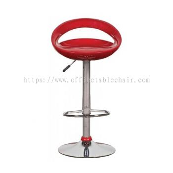 HIGH BARSTOOL CHAIR WITH BACKREST C/W ROUND CHROME METAL BASE ST20
