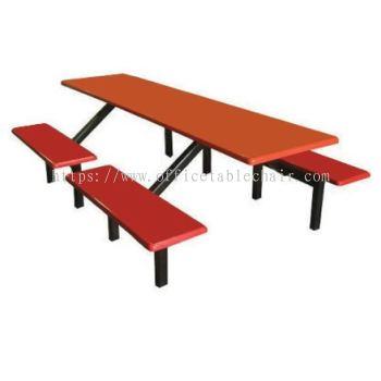 8 SEATER RECTANGULAR FIBRERGLASS TABLE WITH BENCH
