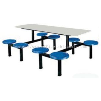 8 SEATER RECTANGULAR FIBREGLASS TABLE WITH STOOLS