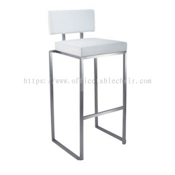 HIGH BARSTOOL CHAIR WITH BACKREST C/W CHROME METAL BASE ST32-F