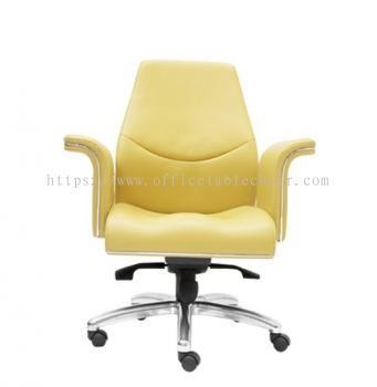 WIGAN DIRECTOR LOW BACK LEATHER CHAIR C/W ROCKET ALUMINIUM BASE