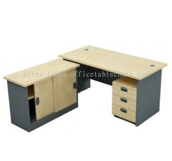 5FT WOODEN BASE RECTANGULAR TABLE WITH SIDE CABINET + MOBILE PEDESTAL 3D