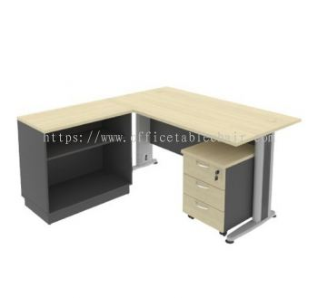 5FT METAL BASE EXECUTIVE TABLE WITH OPEN SHELF LOW CABINET + MOBILE PEDESTAL 3D