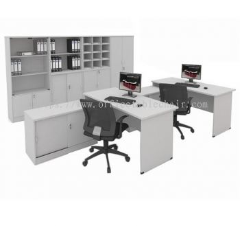 EXECUTIVE TABLE WOODEN BASE C/W SIDE CABINET (WHITE)