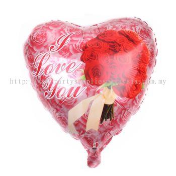 "Foil 18"" Heart - I Love U - Rose"