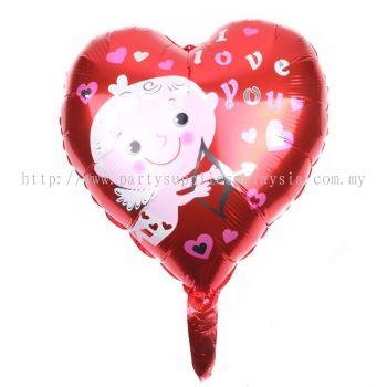 "Foil 18"" Heart - I Love U - Cupid"
