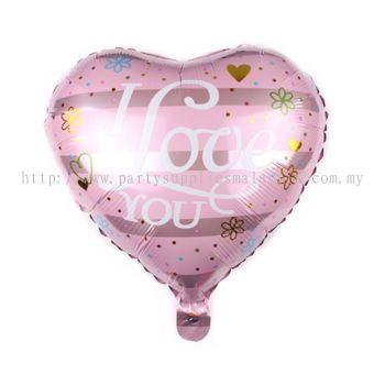 "Foil 18"" Heart - I Love U - Simple Flower"