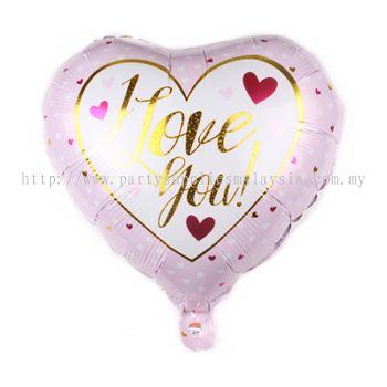 """Foil 18"""" Heart - I Love U - white Mini Love"""