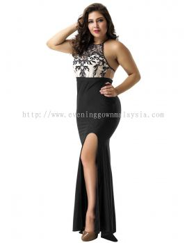 Dinner Gown (Front Slit Black Long Gown 047)