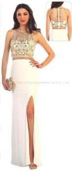 Dinner Gown (White Long Slit Gown 037)