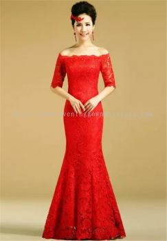 Dinner Gown (Red Long Lace Gown 034)
