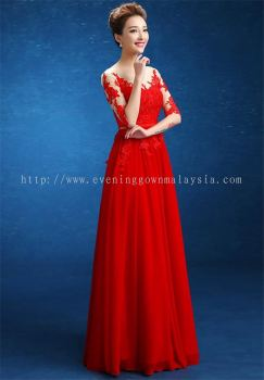 Dinner Gown (Red Long Lace Gown 033)