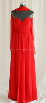 Dinner Gown (Red Long Dinner Dress 029)