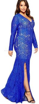Plus Size Dinner Dress (Blue Evening Long Gown)