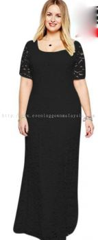 Plus Size Dinner Dress (Black Evening Long Gown)