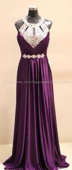 Evening Dark Purple Sequence Gown
