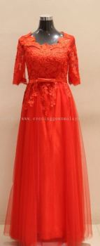Evening red lace gown