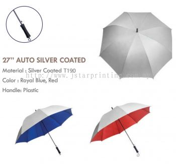 Umbrella 27 Auto Silver Coated