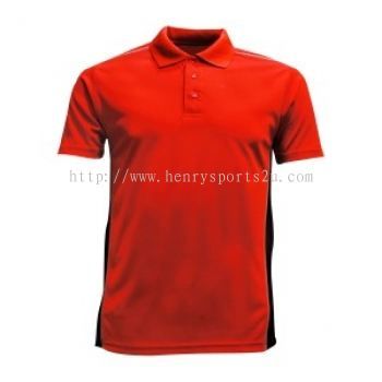 Lefonse Microfiber Dry Fit Cut & Sew Collar T-shirt (M21-03) RED with BLACK