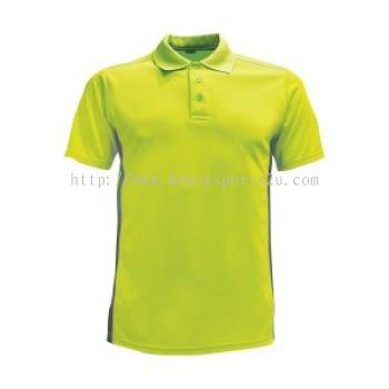 Lefonse Microfiber Dry Fit Cut & Sew Collar T-shirt (M21-11) APPLE GREEN with BLACK
