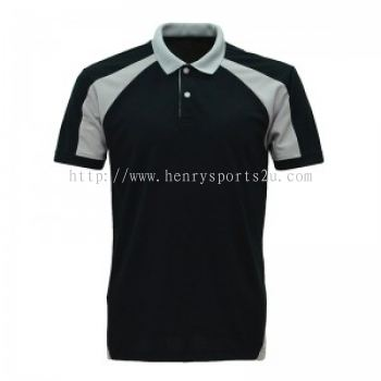 Lefonse Microfiber Cut & Sew Collar T-Shirt ( M31-01)BLACK with LIGHT GREY
