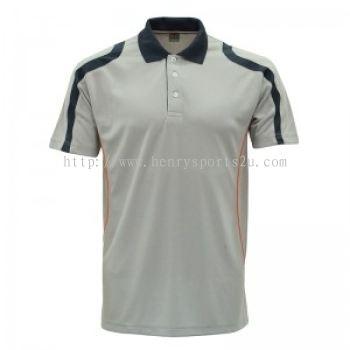 Lefonse Microfiber Cut & Sew Collar T-Shirt ( M32-19) ORANGE DARK GREY LIGHT GREY