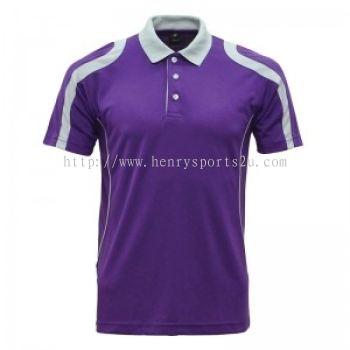 Lefonse Microfiber Cut & Sew Collar T-Shirt ( M32-21) PURPLE DARK GREY LIGHT GREY