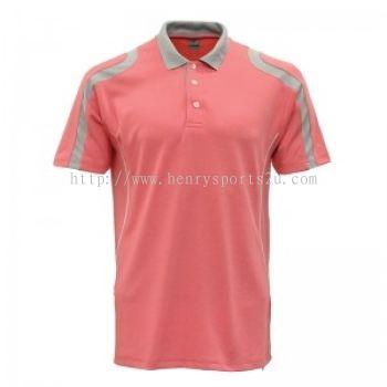Lefonse Microfiber Cut & Sew Collar T-Shirt ( M32-26) PEACH DARK GREY LIGHT GREY