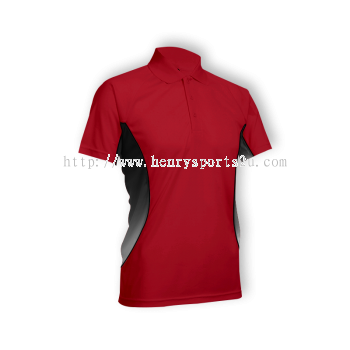 QD3105 Oren Sport Quick Dry Collar Tshirt RED with BLACK