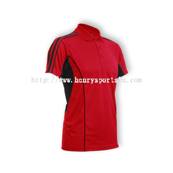 QD3305 Oren Sport Quick Dry Collar Tshirt RED with BLACK